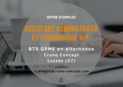 Recrutement Assistant administratif et pédagogique H/F pour un BTS GPME en alternance